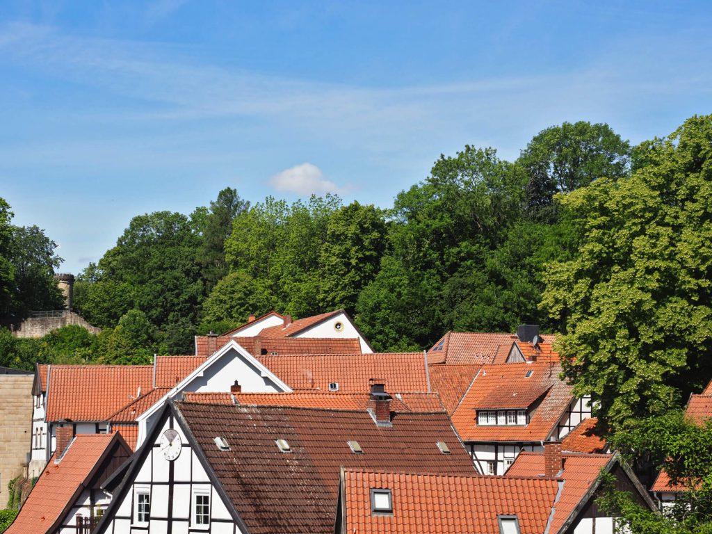 Vakwerkhuizen en de burcht in Tecklenburg