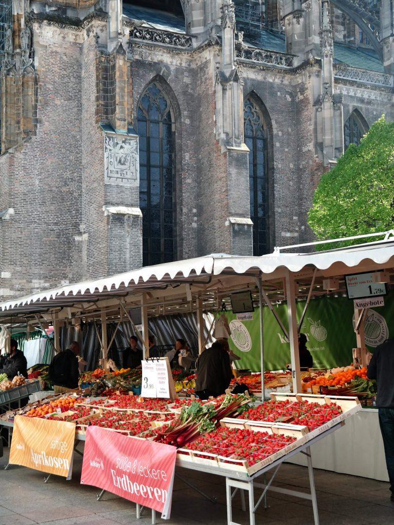 Markt op het Münsterplatz in Ulm
