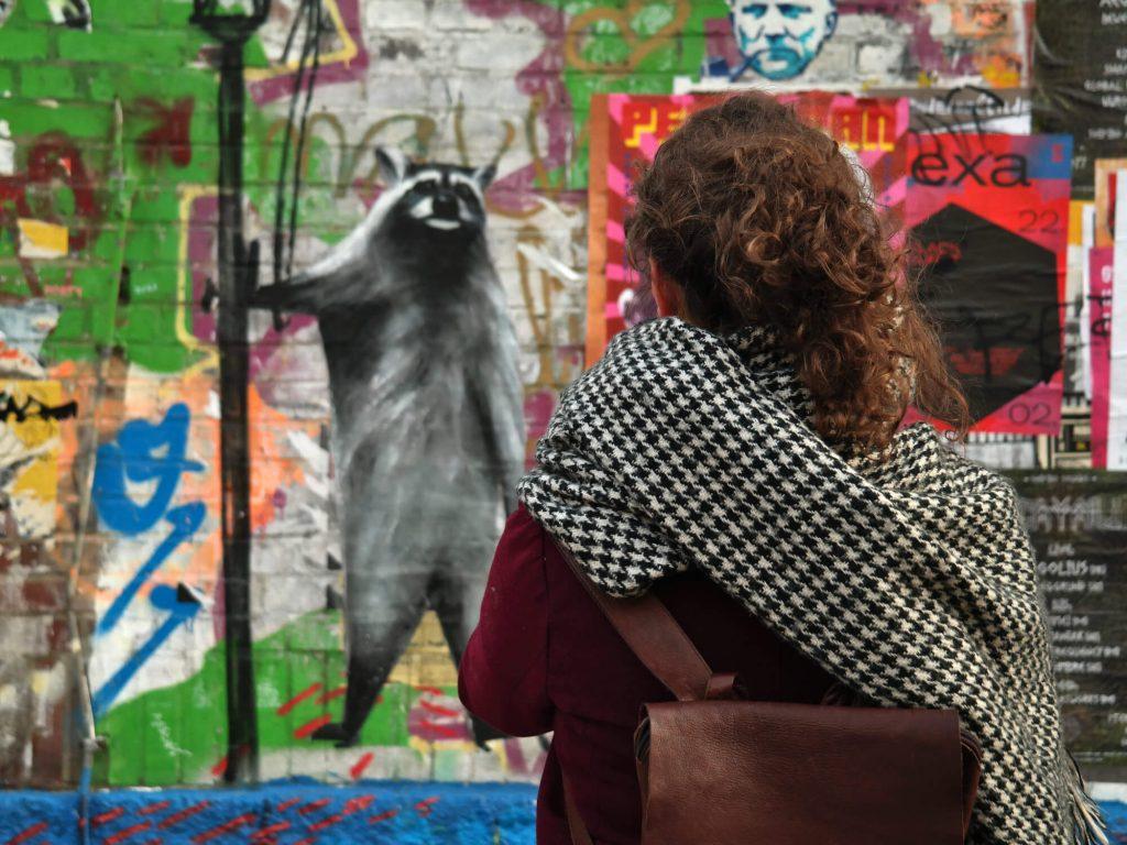 Kijken naar street art in Plagwitz Leipzig