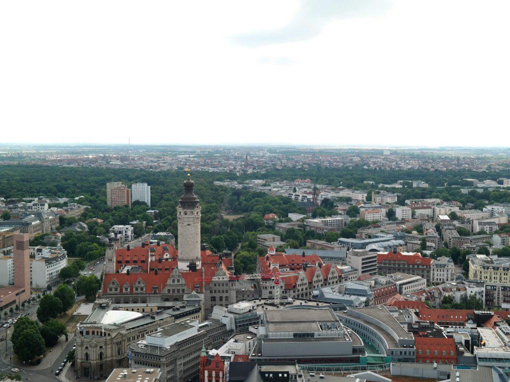 Uitzicht Panoramaturm Leipzig centrum