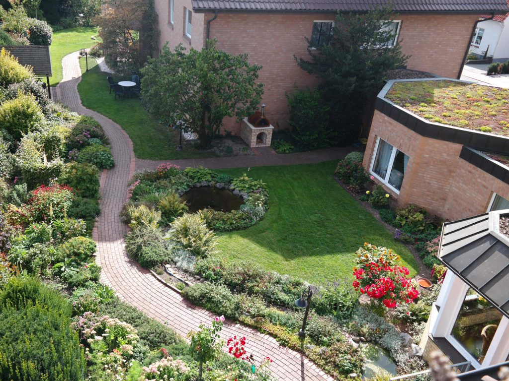 Tuin van Bio-Hotel Melter in Bad Laer Duitsland