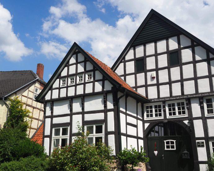 Vakwerkhuizen in het centrum van Bad Laer Duitsland