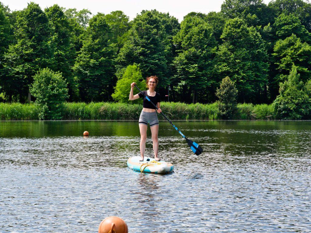 Stand up paddling op de Emssee Warendorf Duitsland