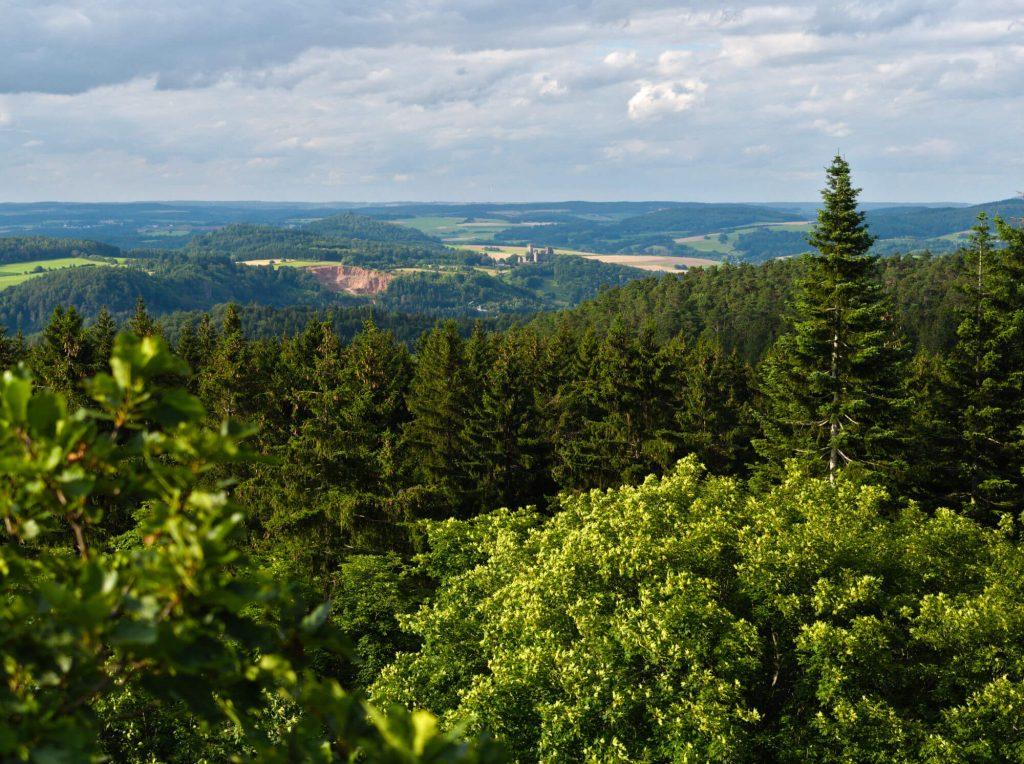Uitzicht op wandeling in Gerolsteiner Dolomieten